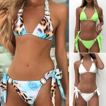 Sexy Low-waist Rhinestone Inlaid Halter Bikini Set