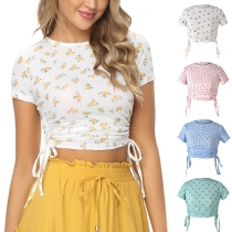 Fashion Short Sleeve Round Neck Side-drawstring Printed Crop Top