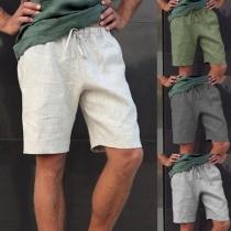 Pantalones Cortos Deportivos Casuales hasta la Rodilla de Cintura con Cordón para Hombre