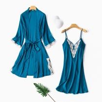 Sexy Lace Spliced V-neck Sling Dress + Long Sleeve Robe Nightwear Set
