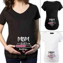 Blusa Casual con Estampado de Letras para Mujer Embarazada