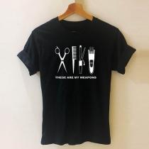 Camiseta con Estampado de Escote Redondo Manga Corta