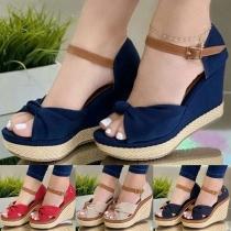 Fashion Wedge Heel Peep Toe Contrast Color Sandals