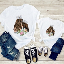 Blusa Simple con Estampado de Madre e Hija de Escote Redondo Manga Corta