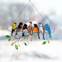 Arte De Aves con Adornos Colgantes Suncatchers para la Decoración del Hogar de Puertas de Ventanas