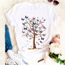 Casual Style Short Sleeve Round Neck Butterfly Tree Printed T-shirt