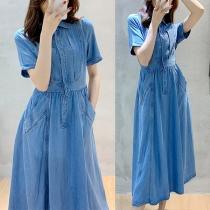 Elegant Style Short Sleeve POLO Collar High Waist Denim Midi Dress with Side Pocket