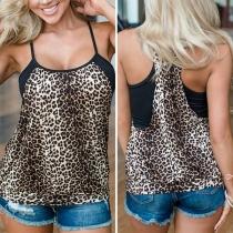 Sexy Blusa de Tirantes con Estampado de Leopardo