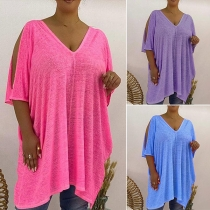 Casual Style Slit Short Sleeve V-neck Solid Color Loose T-shirt