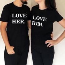 LOVE HIM, LOVE HER-Camiseta de Pareja con Estampado Casual Negro
