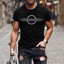 Camiseta Casual de Hombre con Estampado de Cuello Redondo Manga Corta de Estilo Simple