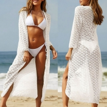 Fashion Solid Color Long Sleeve Hollow Out Lace Sunscreen Cardigan