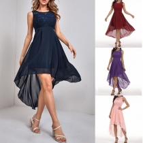 Elegant Solid Color High-low Hem Sleeveless Lace Spliced Party Dress