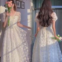 Sweet Style Puff Sleeve V-neck High Waist Lace Princess Dress