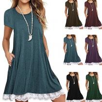Fashion Solid Color Short Sleeve Round Neck Lace Spliced hem Loose Dress