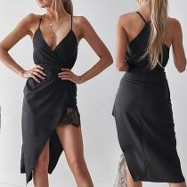 Sexy Backless V-neck Lace Spliced Slit Hem Solid Color Sling Dress