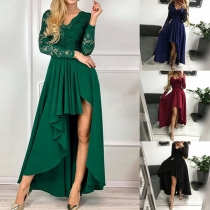 Sexy V-neck High-low Hem Lace Spliced Solid Color Party Dress