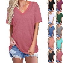 Casual Style Short Sleeve V-neck Contrast Color Loose T-shirt