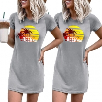 Casual Style Short Sleeve Round Neck Coconut Tree Pattern T-shirt Dress