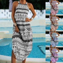 Bohemian Style Sleeveless Round Neck Arc Hem Printed Dress