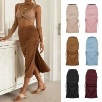 Fashion Solid Color High Waist Slit Hem Wrinkled Skirt