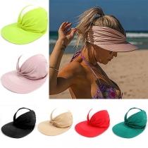 Sombrero de Sol Calado Élástico de Ala Ancha de Color Sólido de Moda