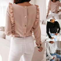 Fashion Solid Color Long Sleeve Round Neck Back-button Ruffle Top