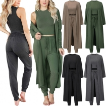 Casual Style Solid Color Round Neck Tank Top + Pants + Long Sleeve Cardigan Three-piece Set