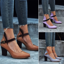 Fashion Solid Color Thick High-heel Round Toe Shoes