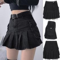 Fashion High Waist Pleated Hem Side-pocket Slim Fit A-line Denim Skirt