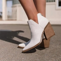 Fashion Thick High Heel Pointed-toe Ankle Boots Booties