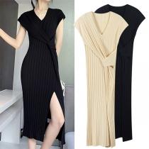 Sexy Slit Hem Short Sleeve V-neck Solid Color Twisted Dress