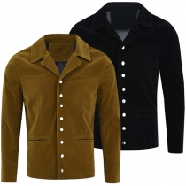 Fashion Solid Color Long Sleeve Notched Lapel Man's Coat