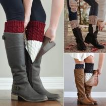 Fashion Contrast Color Knit Leg Warmer