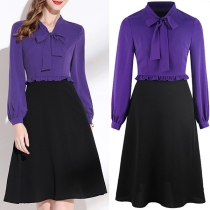 OL Style Lace-up Bow-knot Collar Long Sleeve Shirt + Skirt Two-piece Set