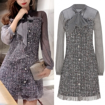 Sweet Style Gauze Spliced Long Sleeve Lace-up Bow-knot Collar Slim Fit Dress
