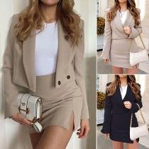 OL Style Long Sleeve Short-style Blazer + Skirt Two-piece Set  (Size falls small)