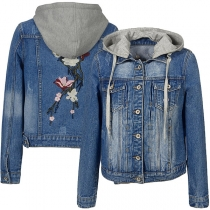 Fashion Detachable Hooded Long Sleeve Hooded Embroidered Denim Coat