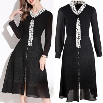 Fashion Printed Spliced Lace-up Collar Long Sleeve High Waist Slim Fit Dress