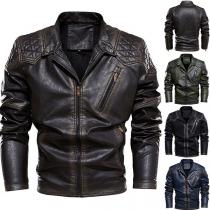 Retro Style Long Sleeve Zipper-pocket Slim Fit Man's PU Leather Coat