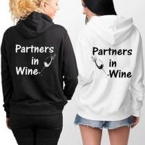 """Sudadera de """"Besties Hoodie-Partners in Wine"""" (Mejores Amigos de Vino) con Manga Larga"""