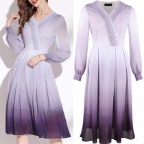 Elegant Long Sleeve V-neck High Waist Color Gradient Chiffon Dress