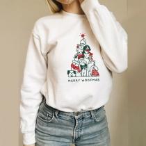 Cute Cartoon Dog Printed Long Sleeve Round Neck Loosw Sweatshirt
