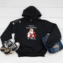 Fashion Santa Claus Printed Long Sleeve Hooded Christmas Sweatshirt