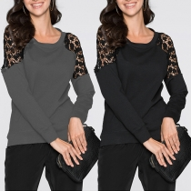 Sexy Lace Spliced Long Sleeve Round Neck Top