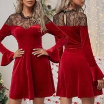 Sexy See-through Gauze Spliced Ruffle Cuff Long Sleeve Slim Fit A-line Dress