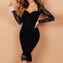 Sexy Gauze Spliced Long Sleeve Square Collar Slim Fit Party Dress