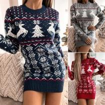 Fashion Long Sleeve Round Neck Christmas Pattern Slim Fit Sweater Dress