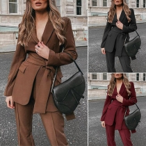 OL Style Solid Color Long Sleeve Blazer Coat + Pants Two-piece Set