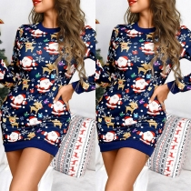 Cute Style Long Sleeve Round Neck Santa Claus Printed Christmas Dress